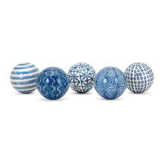 IMAX Worldwide Home   Imax Barrett Spheres, 5 Assorted, Blue Finish   Decorative  Objects