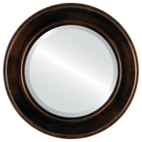 Montreal Framed Round Mirror, Rubbed Bronze, 35x35