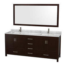 "Sheffield 80"" Espresso Double Vanity, Carrera Marble Top, Undermount Square Sink"