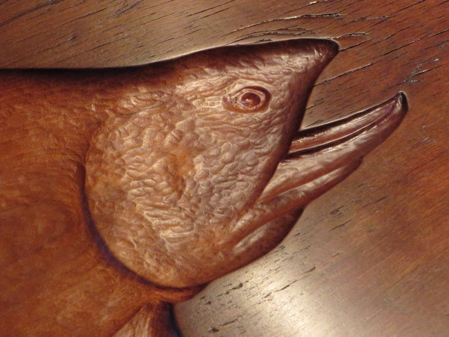 Tray 17025 DETAIL: Big Brook. Antique Cherry, Hand-Carved Trout, Footed, Antler