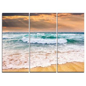 """Blue Sea Waves Kissing Sandy Beach"" Canvas Wall Art, 3 Panels, 36""x28"""