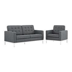 Modway - 2-Piece Loft Living Room Set, Upholstered Fabric, Gray - Living Room Furniture Sets