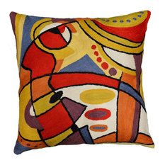 """Decorative Musical Accent Pillow Cover Hand-embroidered, 18""""x18"""""""