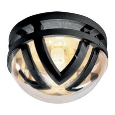 Modern Outdoor Round Ceiling Light With Smoked Glass