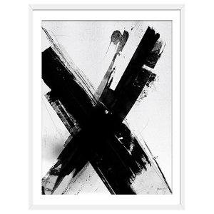 Letter X Monochrome Abstract Art Print, White Framed, 50x70 cm