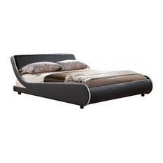 Faux Leather Griffin Bed Frame, Black and White, Double