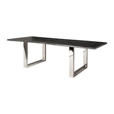 Zinnia Industrial Gray Oak Stainless Steel Dining Table, 78W   Dining Tables