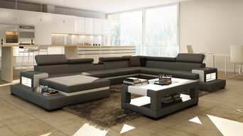 Grey Leather Contemporary Sectional