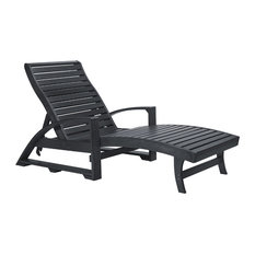 St. Tropez Chaise Lounge With Wheels, Black