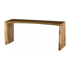 84-inchL Waterfall Console Counter Table Solid Hand Crafted Wood Polished Finish