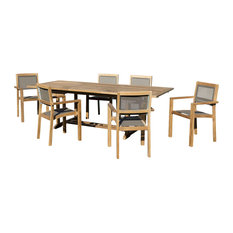 Taupe 7-Piece Outdoor Dining Set With Extendable Rectangular Table