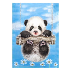 Toland - Panda Playtime House Flag - Flags and Flagpoles