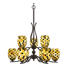 "Revo 9 Light Chandelier Dark Granite Finish With 5"" Sea Haze Seashell Glass"