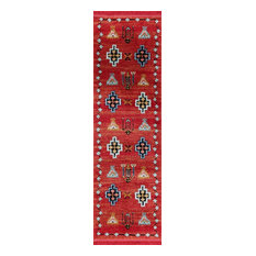 Page Fez Collection Red Area Rug, 2'x8'