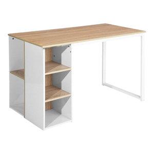 Modern Large Desk With Steel Frame and Oak Wooden Top, 5 Open Shelves