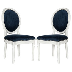 Safavieh Peri Dining Chairs, Navy, Velvet, Set of 2