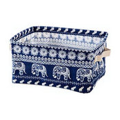 Cotton Linen Storage Baskets Desktop Debris Toy Snack Storage Baskets, Dark Blue