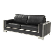 Contemporary Leather Gel Sofa With Plush Cushions, Black