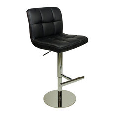 Azagi Weighted Real Leather Kitchen Bar Stool, Black