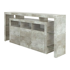 High Gloss Sideboard Cabinet, 3-Door, Open Cases and Raised Stand, Concrete