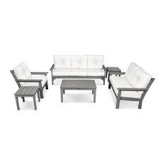 POLYWOOD Vineyard 6-Piece Deep Seating Set, Slate Gray/Natural