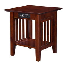 Leo & Lacey Charger End Table In Walnut