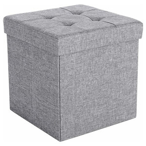 Foldable Ottoman Storage Chest, Light Grey