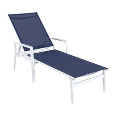 Naples Adjustable Sling Chaise, Navy Blue/White
