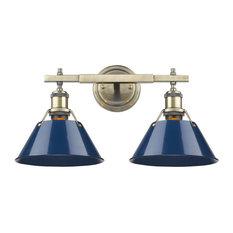 Orwell 2-Light Bathroom Vanity Light, Aged Brass