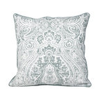 Vintage Paisley Teal Feather Filled Decorative Throw Pillow Cushion, 20X20