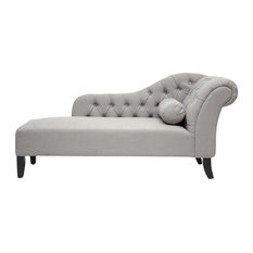 Baxton Studio - Aphrodite Tufted Putty Gray Linen Modern Chaise Lounge, Gray - Indoor Chaise Lounge Chairs
