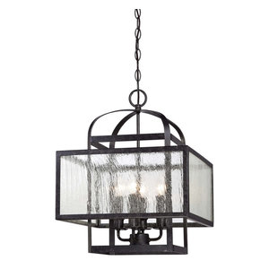 Camden Square 4-Light Mini Chandelier, Aged Charcoal