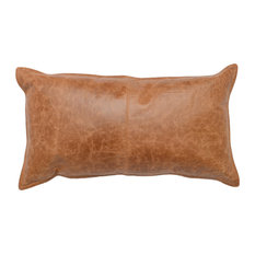 """Cheyenne 100% Leather 14""""x26"""" Throw Pillow, Chestnut Brown by Kosas Home"""