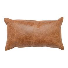 "Kosas Home Cheyenne 100% Leather 14"" x 26"" Throw Pillow, Chestnut Brown"