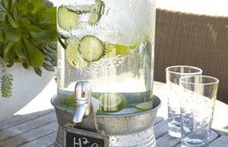 'Oasis' Beverage Server with Galvanized Stand