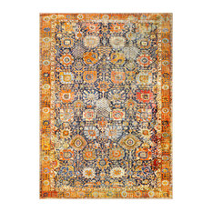 "Silk road Updated Traditional Bright Yellow, Saffron Area Rug, 5'3""x7'3"""