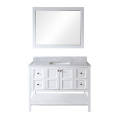 "Virtu Winterfell 48"" Single Bathroom Vanity, White With Marble Top, Mirror"