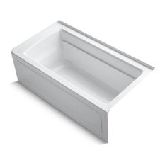 "Kohler Archer 60""x32"" Alcove Bath With Integral Apron, Right-Hand Drain, White"