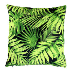 "Outdoor Tropical Fronds Throw Pillows, Set of 2, Black, 18"", Cover"