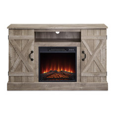 47-inch TV Stand Entertainment Center For TV's Up To 50-inch W/  Electric Fireplace Ash