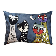 """Lumbar Picasso Dark Gray Cats Accent Pillow Cover Hand Embroidered Wool 14x20"""""""