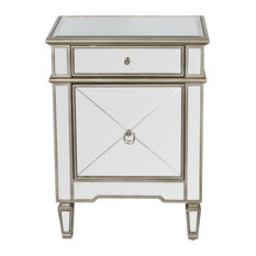 Worlds Away Claudette Mirrored Nightstand Silver