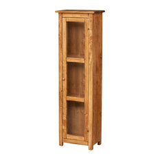 Solid Wood Three-Window Country Display Cabinet, Natural