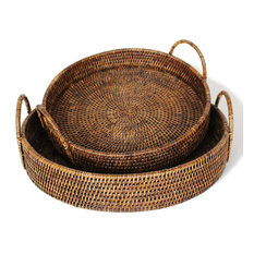 Rattan Round Tray With Handles, Set of 2