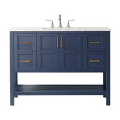 """Florence Vanity, Royal Blue, Carrara White Marble Countertop, 48"""", Without Mirro"""