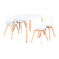 Rico Dining Table Set With 4 Chairs, White