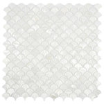 """CNK Tile - White Fish Scale Pearl Shell Tile, 12""""x12"""" Sheet - Our beautiful Mother of Pearl tile in iridescence white and natural tones is on a mesh backing for easy installations in many applications."""