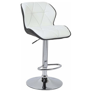 Modern 2-Tone Bar Stool Upholstered, Faux Leather With Back and Footrest, Black