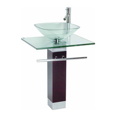The Renovator S Supply Inc Tempered Glass Faucet Pedestal Sink And Drain Combo 23