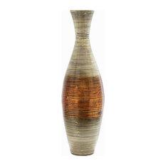 "Nola 36"" Spun Bamboo Floor Vase, Cream and Orange"
